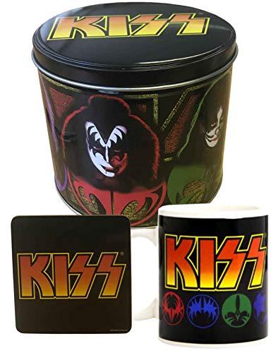 offiziell Kiss Gift Set Kaffeetasse and Untersetzer Band Logo and Icons