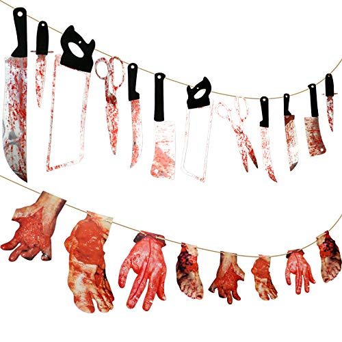 Gejoy 20 Pieces Scary Halloween Decorations 12 Pieces Bloody Weapon Garland Props, 8 Pieces Bloody Hands and Feet Hanging Banner for Vampire Zombie Theme Party, Bar Decorations