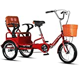 Triciclo para adultos con cesta de la compra Triciclo plegable Bicicleta de tres ruedas Bicicleta de triciclo de 16 pulgadas Bicicleta para recreación Compras Bicicleta para hombres y mujeres (Co