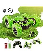 انو تيك سيارة سباق بجهاز تحكم عن بُعد 2.4 جيجا هيرتز قابلة لاعادة الشحن، لعبة سيارة عالية السرعة بنظام دفع رباعي دوار، تنقلب على الجانبين حتى 360 درجة، لعبة قيادة للادولا ( اخضر )