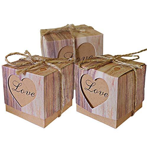 Lontenrea 50pcs Candy Favor Boxes Vintage Kraft Candy Gift Box 50pcs Burlap Twine Wedding Birthday Party Decorate