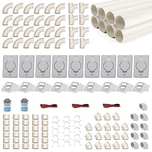 Zentralstaubsauger Einbau-Set für 9 Saugdosen mit Rohren, Fittings & Co. - Montageset für DIY-Einbau einer Staubsaugeranlage - Saugdose Deckel rund