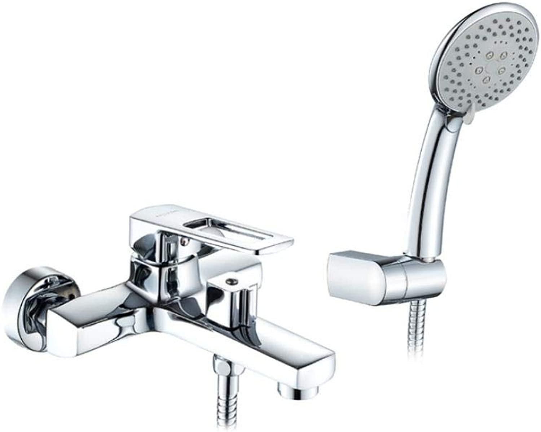 Wasserhahn Bad Badewanne Handbrause Mischbatterie Wasserhahn Chrom-Finish Wandmontage Multi Wasser Auslauf Badewanne Armaturen