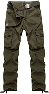 Men's Casual Relaxed Fit Cargo Pants Hiking Trousers Cotton Twill Combat Pants