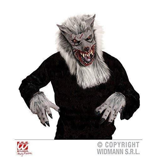 Lively Moments Wolfsmaske / Latexmaske / Werwolf mit Passenden, haarigen Handschuhen / Wolfshandschuhen für Halloweenkostüm