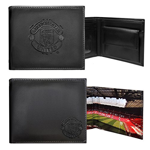 Manchester United FC Official Soccer Gift Embossed Crest Money Wallet Black
