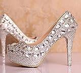 SISHUINIANHUA Zapatos de la Boda de Las Mujeres/Princesa y Novia/talón de Estilete/Redonda Dedo del pie Plataforma Impermeable/Sandalias de tacón Alto/Zapatos de Cristal, 12CM, CN36