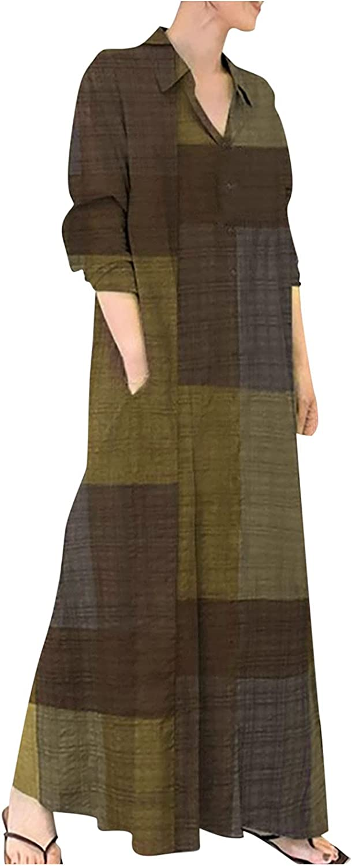 GOODTRADE8 Maxi Dress Women's Dress Shirt Long Skirt Long Sleeve Pocket Autumn Spring Shirt Collar Cocktail Wedding Wrap
