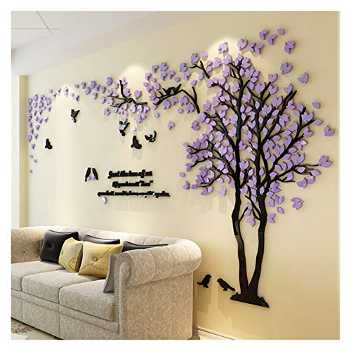 FQF Home decoration 3D Tree Acrylic Mirror Wall Sticker Decals DIY Art TV Background Wall Poster Home Decoration Bedroom Living Rooms Wallstickers (Color : Purple RIGHT, Size : L)