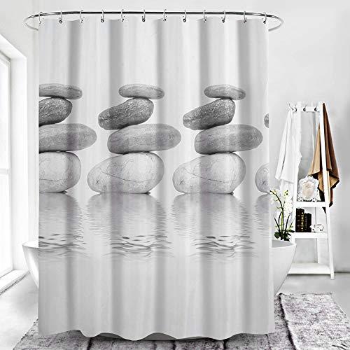 ToWinle Duschvorhang Schimmelresistenter Curtains Shower Wasserabweisend Badewanne Vorhang Pebble Duschvorhang 180 x 120cm mit 12 Duschvorhangringen Duschvorhang Antischimmel mit Verstärktem Saum