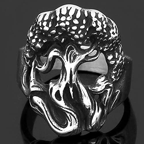 WYPAN Anillo de Árbol de La Vida de Mitología Nórdica, Amuleto Vintage de Acero Inoxidable Celta Vikingo para Hombre, Joyería Escandinava, Regalo, Tamaño 9-13,13