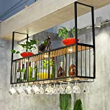 LXYPLM-WR1 Ceiling Wine Rack Black Wine Glass Rack Upside Down Bar Wall Mounted Decorative Flower Stand With Lights Home Wine Bottle Holder(Size:150 * 30 * 80cm)