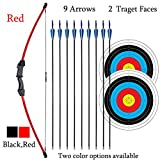 iMay 45' Bow and Arrows Set with 9 Arrows 2 Target Faces for Teens Outdoor Archery Beginner Gift Recurve Bow Longbow Kit (Red)
