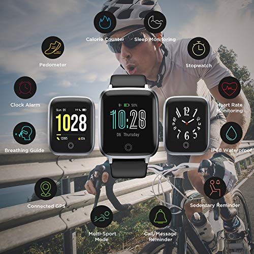 """LETSCOM Smart Watch, Fitness Trackers with Heart Rate Monitor Step Calorie Counter Sleep Monitor, IP68 Waterproof Smartwatch 1.3"""" Color Screen, Activity Tracker Pedometer for Women and Men 6"""