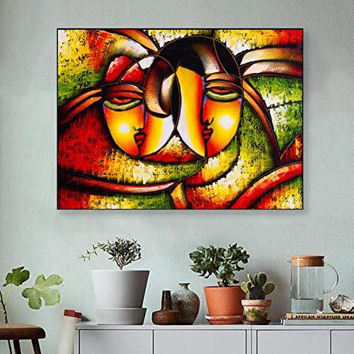 Gymqian Arte Abstracto de la Cara Pintura Amor Impresión en Lienzo Carteles e Impresiones Imagen de Arte de Pared Moderno para la Sala de Estar Decoración del hogar 50x70cm Sin Marco