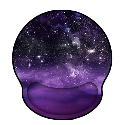 Mouse Pads with Wrist Support,Ergonomic Mouse Pad for Women,Wrist Rest Mouse Pad for Laptop Computers,Non Slip Memory Foam Mousepad Stitched Edges,Home Working Office,Purple Starry Sky
