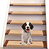 Jorviz Bullnose Carpet Stair Treads Set of 14 Soft Non Slip Self Adhesive Indoor Stair Protectors Pet Friendly Rugs Covers Mats Skid Resistant Washable Rubber Backing Khaki (9.5' x 30'x1.2')