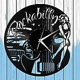 Rockabilly - Reloj de pared de vinilo con banda de rock, para amantes de la música, regalo para el hogar, decoración de la habitación