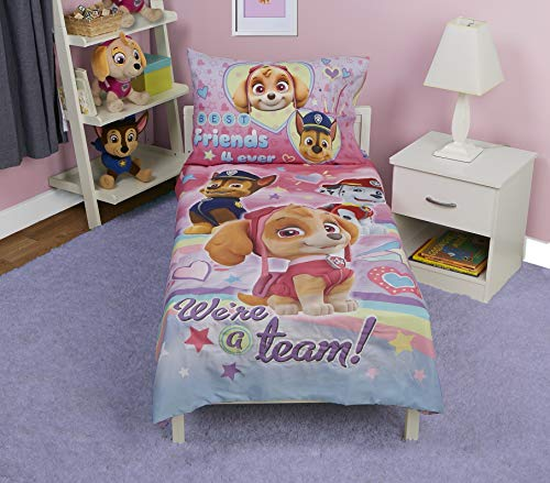 Paw Patrol Skye We're A Team 4-Piece Toddler Bedding Set - Includes Quilted Comforter, Fitted Sheet, Top Sheet, and Pillow Case, 28' x 52'