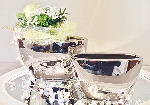 DRULINE 2er-Set Keramik Vase Wonder Silber Hochglanz Dekovase Blumenvase Shabby - FS6024-29