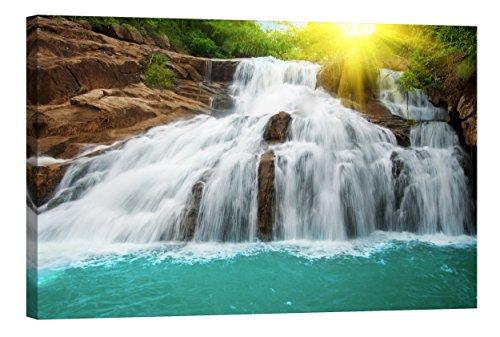 Startoshop Wallart PICMA nachleuchtende Wandbild XXL Leinwand Wanddeko Leinwandbild Wasserfall 3 Kunstdruck Bild