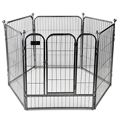 Pet Exercise Pen Tube Gate,Pet Playpens,Heavy Duty Folding Metal Out-Door Fence Play Pen,Dog Exercise Pen Cat Fence 6 Panel Playpen Deal for Any Dog Breed,D