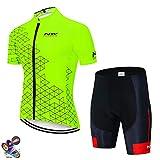 Fxwj Maillot Ciclismo Hombre Verano Ropa Bicicleta Montaña Manga Corta + Pantalones Cortos con Acolchado 19D para Deportes Al Aire Libre Ciclo Bicicleta,C,S