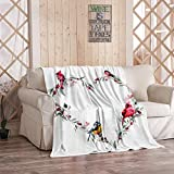 EATRAY Cardinal Birds Flannel Fleece Throw Blanket, Heart Leaves Branches Birds Cardinal Bullfinch Titmouse Soft Warm Sherpa Blanket Lightweight Cozy for Bed Couch Bedroom 40 Inch x 50 Inch