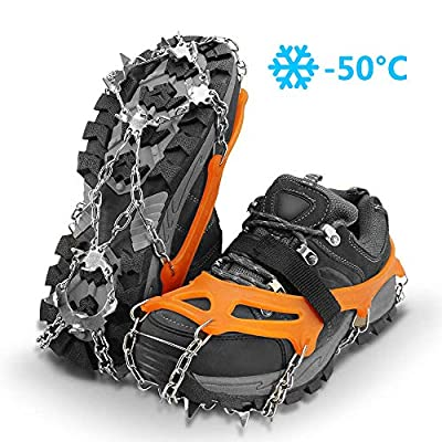 SUPTEMPO 19 Spikes Crampons Ice Snow Grips Traction Cleats System Safe Protect for Walking, Jogging, or Hiking on Snow and Ice (Fit M/L/XL Shoes/Boots) (Small)