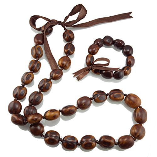 BlueRica Kukui Nut Lei Necklace & Bracelet Set (Natural)