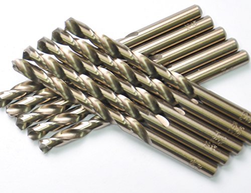 DRILLFORCE (10 Pcs) 3/16 in. x 3-1/2 in. HSS COBALT Drill Bits, Jobber Length, Straight Shank, Metal Drill,Ideal For Drilling On Mild Steel, Copper, Aluminum, Zinc Alloy Etc.