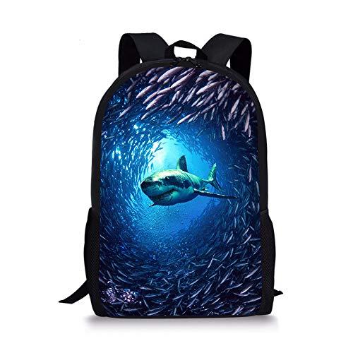 Cozeyat Shark Backpack Cool Animal Print School Bag Blue Sport Bookbag for Boys