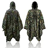 3D Maple Leafy Hunting Camouflage Poncho Ghillie Suit Woodland Jungle Hooded Clothing Lightweight Outdoor Forest Cape Cloak for Airsoft Wildlife Photography Halloween or Christmas