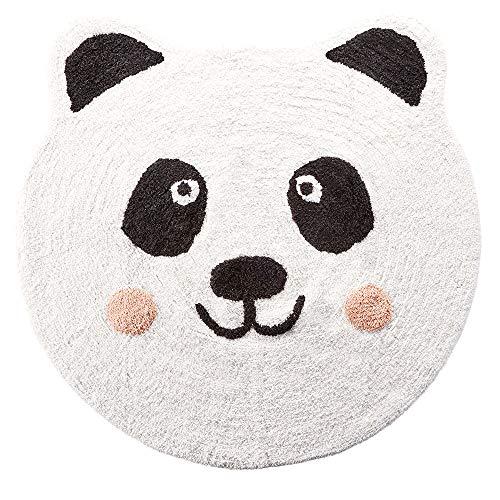 MeyProducts Bad-Teppich Panda rund 90cm weiß-schwarz 100%Baumwolle waschbar Matte Dusch Vorleger Badewanne Badematte