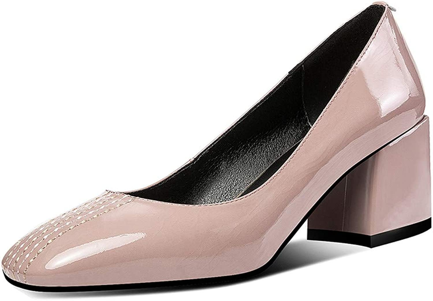 Nine Seven Patent Leather Women's Square Toe Concise Mid Chunky Heel Glossy Handmade Concise Thread Slip On Pumps