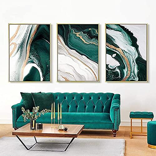 SXXRZA Home Art 3 Piezas 40x60 cm sin Marco Abstracto Moderno Verde Marino Arte Pintura Restaurante Carteles e Impresiones Dormitorio Sala de Estar Arte de la Pared imágenes