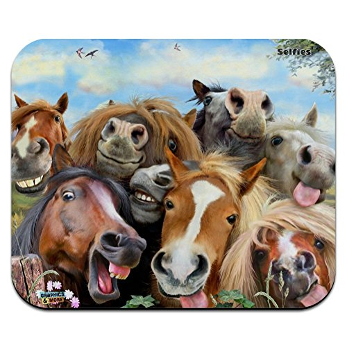 Horses Selfie Low Profile Thin Mouse Pad Mousepad