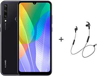 "Huawei Y6P Smartphone,Dual SIM,64GB ROM,3 GB RAM,13MP,5000mAh,6.3"" Display  - Midnight Black + AM61 BT Headphones"