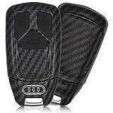 ASARAH Premium ABS Autoschlüssel Hülle kompatibel mit Audi - Edles Carbon Design mit Silikonschutz für Tasten - Carbon AI 3BKL-b