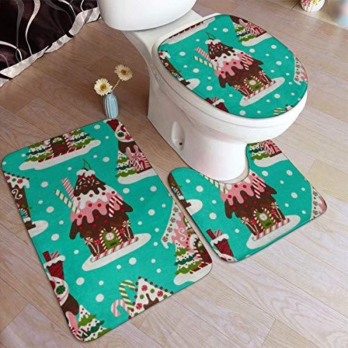 RedBeans - Juego de 3 Alfombrillas de baño Antideslizantes de Franela, diseño de Casas de Jengibre