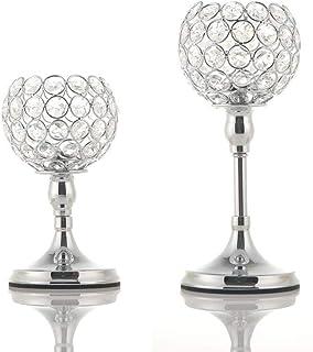 VINCIGANT Conjuntos de Candelabros de Portavelas de ofrenda Plata con Forma de Cuenco de Cristal para Centros de Decoració...
