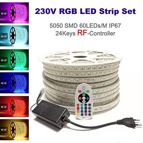 25 Meter H+H Leipzig 230V 5050 SMD 60LEDs/M IP67 Mehrfarbig RGB LED Strip Streifen Lichtband Lichtleiste Lichtschlauch mit RadioFrequency (RF) Netzteil Controller Fernbedienung