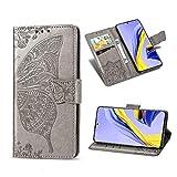 Jeelar Hülle für Xiaomi Poco M3, MagnetverschlussFashion PU Leder Flip Wallet Handyhülle, Geprägtes Schmetterlingsmuster mit Halterungsfunktion Schutzhülle.