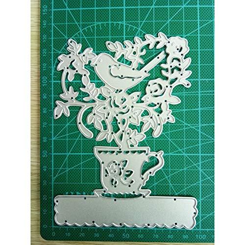 Pixiey Stanssjabloon voor het knutselen van bloempot en vogelframe van metaal van staal, stanssjabloon voor knutselen, scrapbooking, handwerk, papier, decoratiekaarten, reliëf, matrijsen
