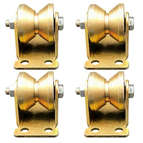 4pcs V-Nut Stahl-Lenkrolle,Starre Schwerlastrollen,V-Förmige Schiene Rollen,Richtung-Rad,Doppellager,Gold,für Industriemaschinen, Schiebetüren,Rolltore,Drahtseilschienen (32mm/1.25in)