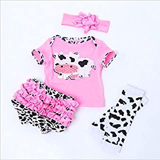 "NPK Reborn Baby Dolls Clothes for 20""- 22"" Pink Outfits with Cow Pattern Reborn Doll Girl Baby Clothing Baby sets"