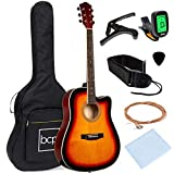 Best Choice Products 41in Full Size Beginner All Wood Acoustic Guitar Starter Set w/Case, Strap,...