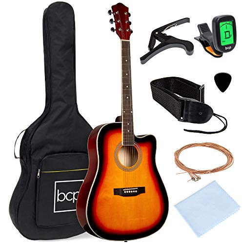Best Choice Products 41in Full Size Beginner All Wood Cutaway Acoustic Guitar Starter Set with Case, Strap, Capo, Strings, Picks, Tuner - Sunburst