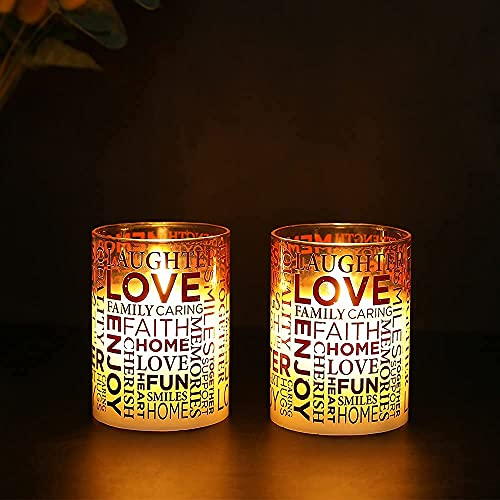 JHY DESIGN Set of 2 Glass Wax Battery Candles 10cm High Moving Flame LED Candles Real Wax Flameless Flickering Electric with 6-Hour Timer for Home Party SPA Wedding