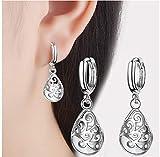 NOBRAND White Opal Stone Women Earring Hollow Design Earring For Women Jewelry de Plata